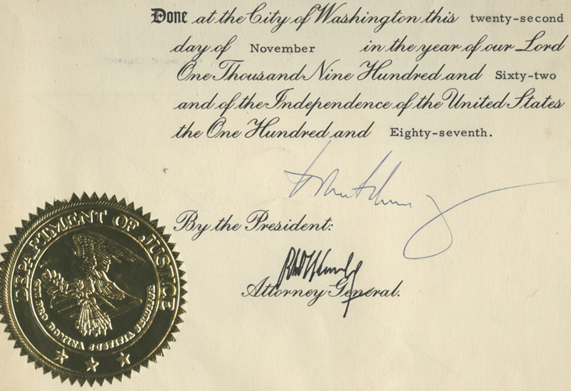 Presidential Pardon Signed by John F. Kennedy. November 1962