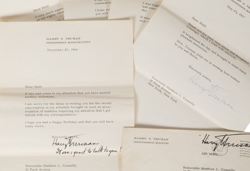 Group of 11 Harry Truman Signed Letters. Typed & signed by the former President. 1962-1970