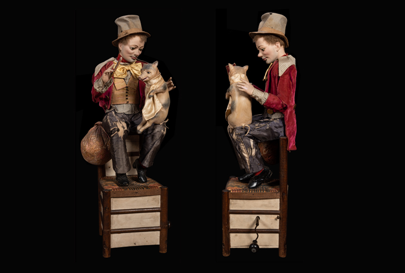 "Peasant and ""Baby"" Piglet Musical Automaton"