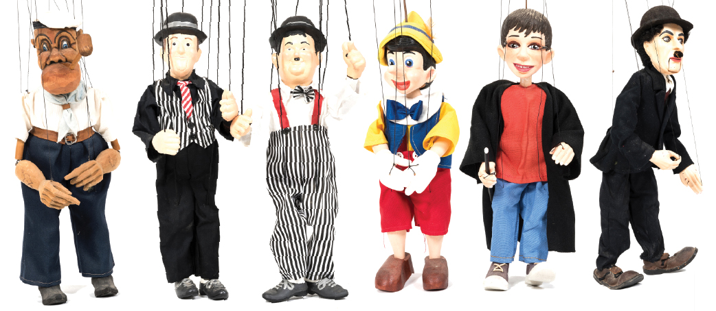 Six Czech Marionette Figures of Entertainers & Popular Characters
