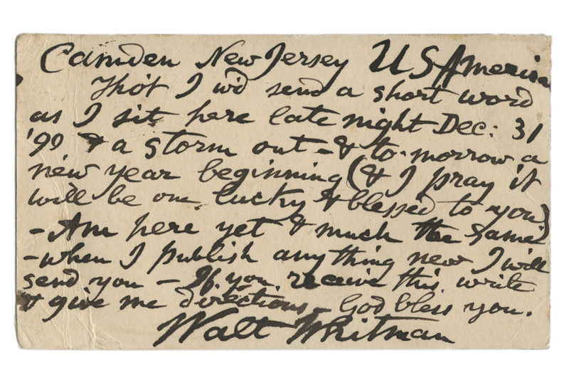 "New Year's Eve Postcard Signed, ""Walt Whitman,"" to the poet Gabriel Sarrazin. January, 1891"